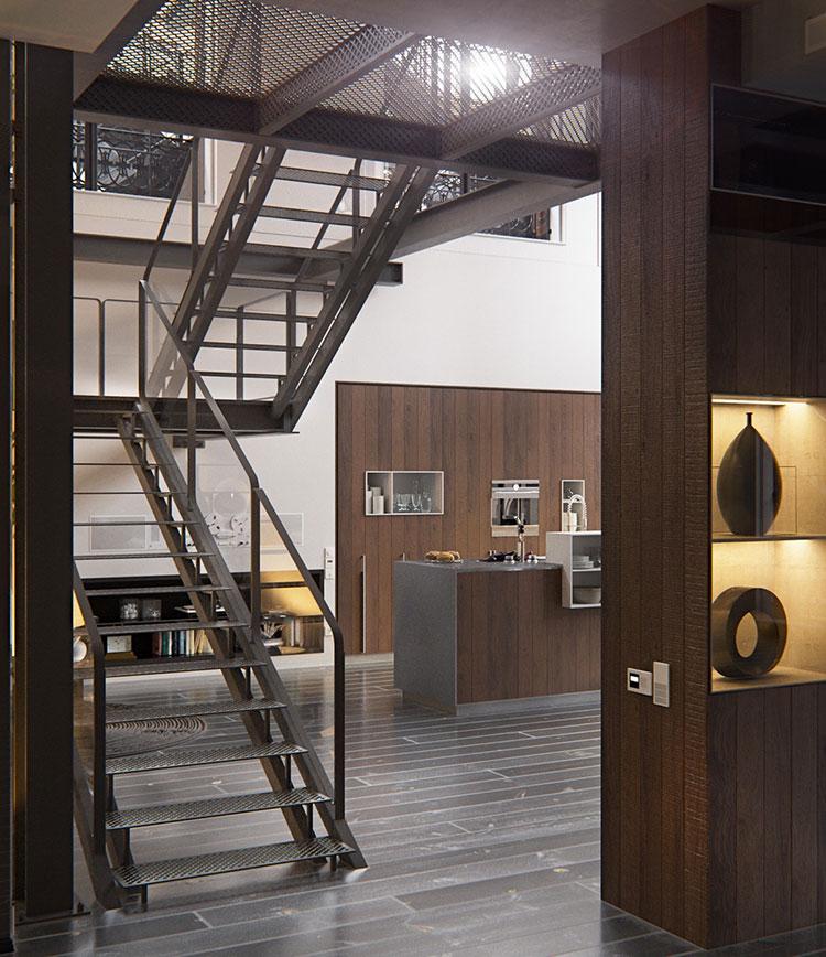 Arredamento stile industriale per loft dal design unico n.23