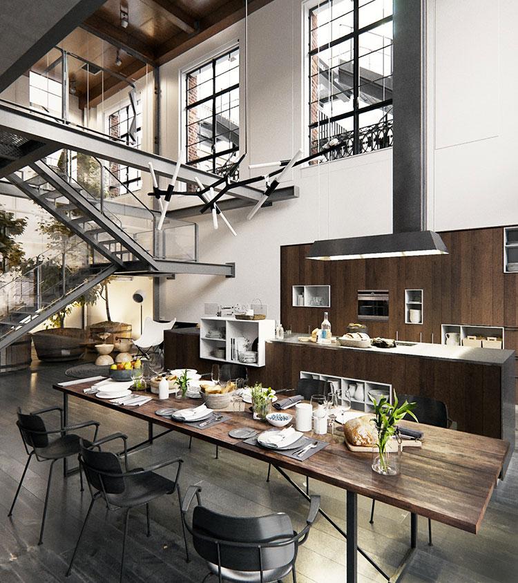 Arredamento stile industriale per loft dal design unico n.24