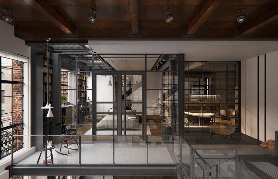 Arredamento stile industriale per loft dal design unico n.25