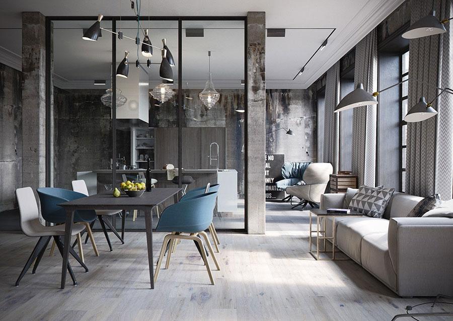 Arredamento stile industriale per loft dal design unico n.26