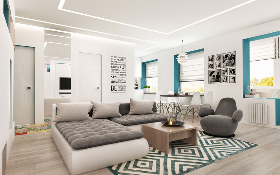 Arredamento per un casa di 50 mq dal design moderno n.01