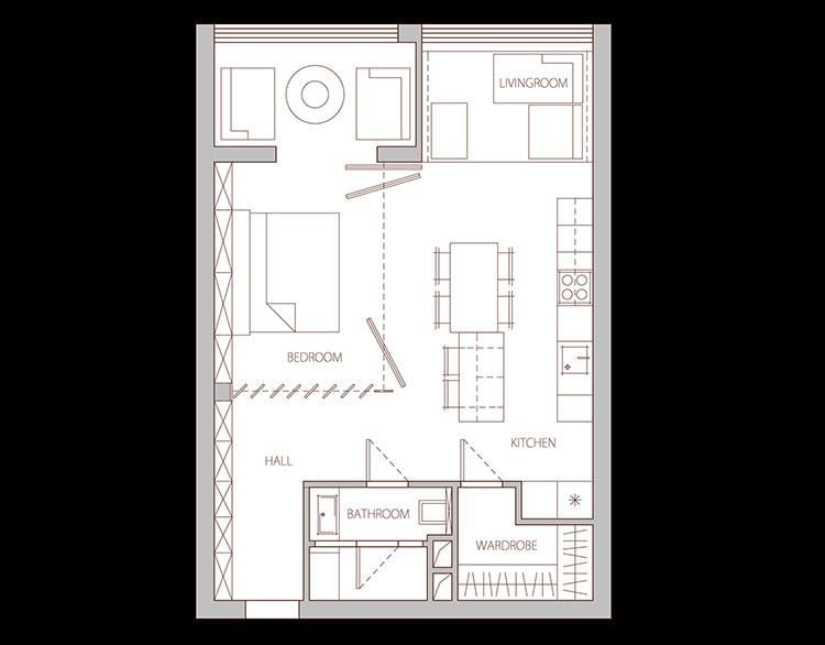 Arredamento per un casa di 50 mq dal design moderno n.19
