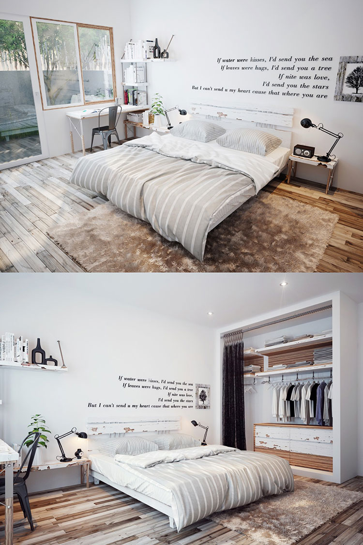 Arredamento per camera da letto dal design nordico n.03