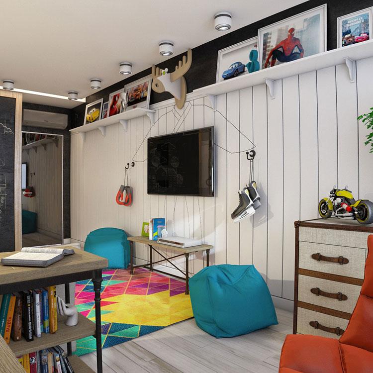 Idee originali per camerette per ragazzi in stile funky for Jugendzimmer colori