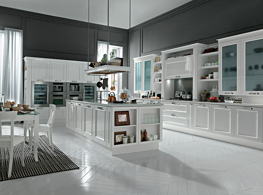 Colore grigio per pareti di cucine classiche n.05