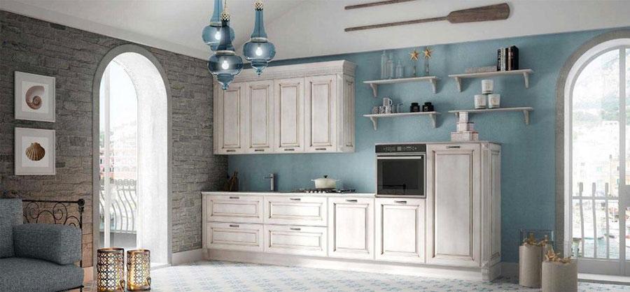 Colore azzurro per pareti di cucine classiche n.03