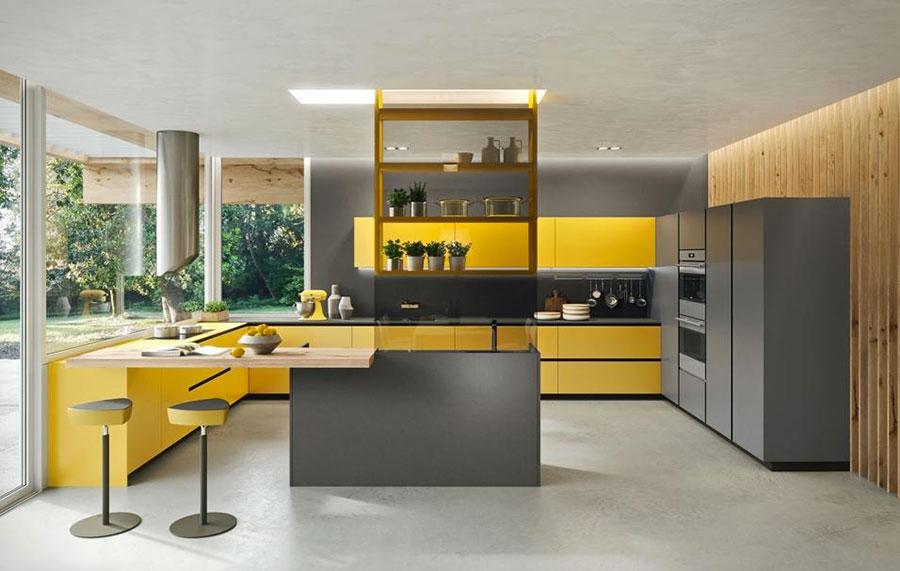 Idee per arredare una cucina grigia e gialla n.05