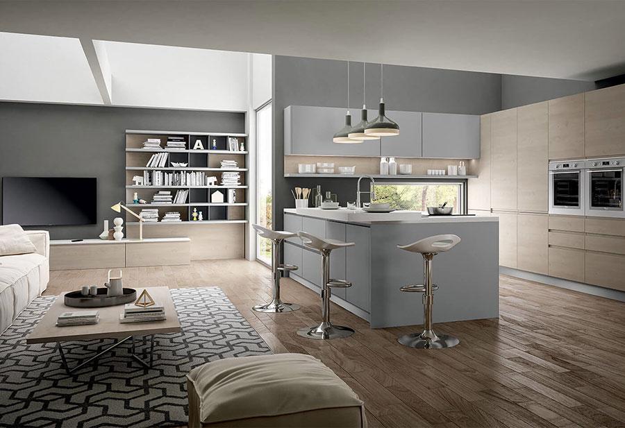 Idee per arredare una cucina grigia e legno n.05