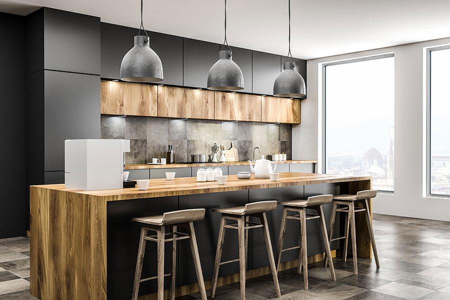 Idee per arredare una cucina grigia e legno n.06