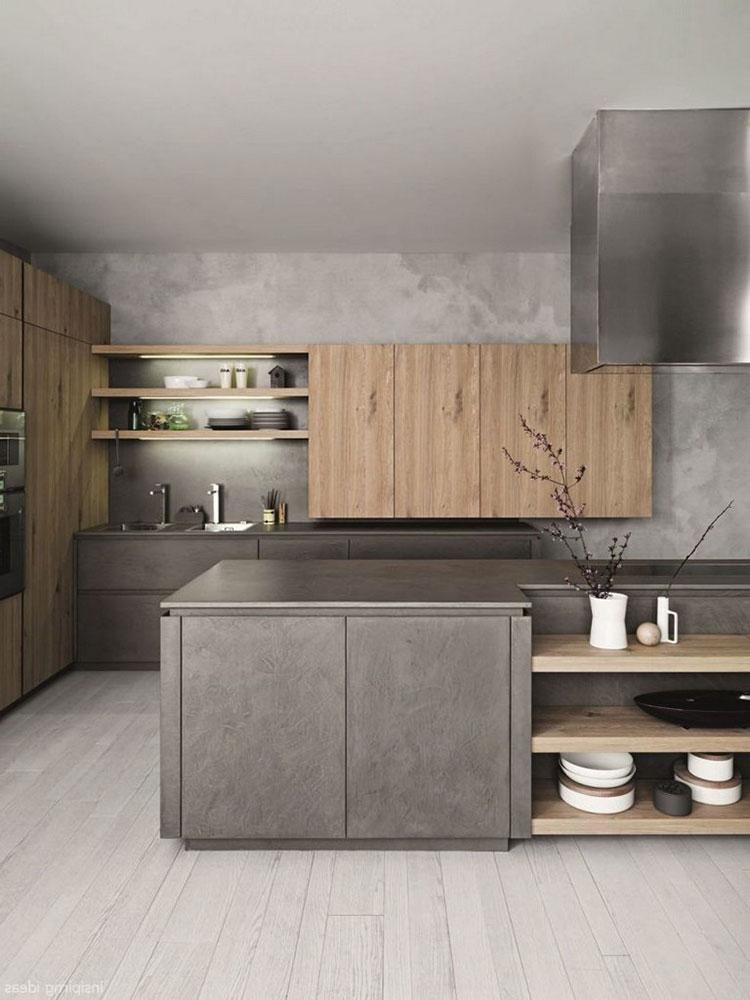 Idee per arredare una cucina grigia e legno n.08