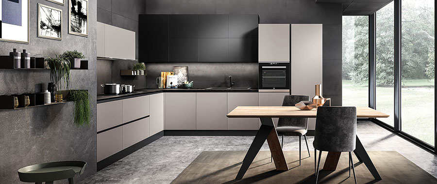 Idee per arredare una cucina grigia e nera n.02