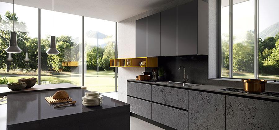 Idee per arredare una cucina grigia e nera n.03