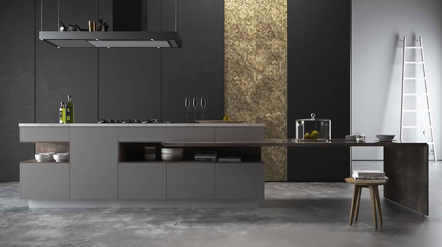 Idee per arredare una cucina grigia e nera n.04