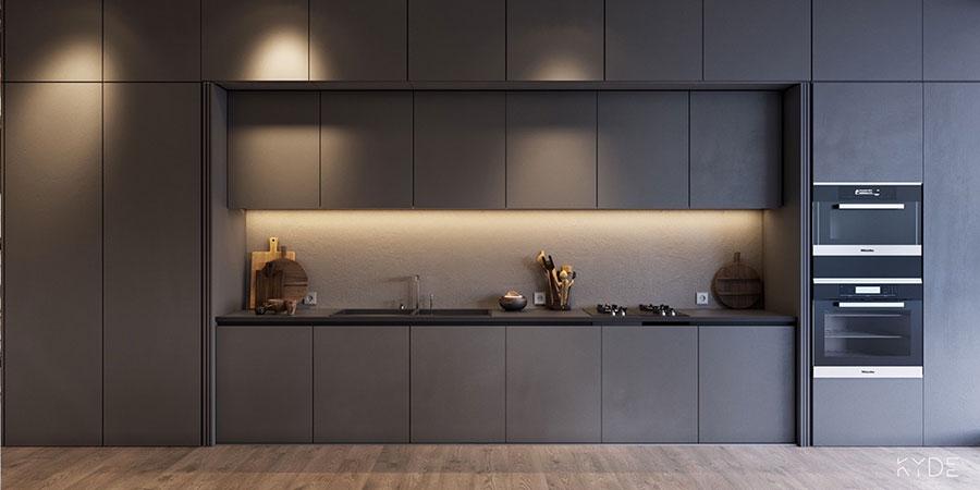 Idee per arredare una cucina grigia scura n.04