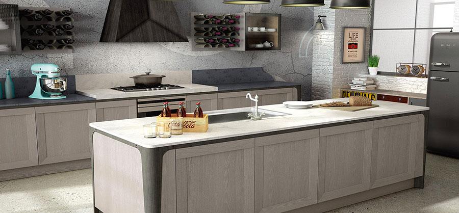 Modello di cucina grigia moderna di Berloni n.03
