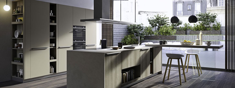Modello di cucina grigia moderna di Snaidero n.03