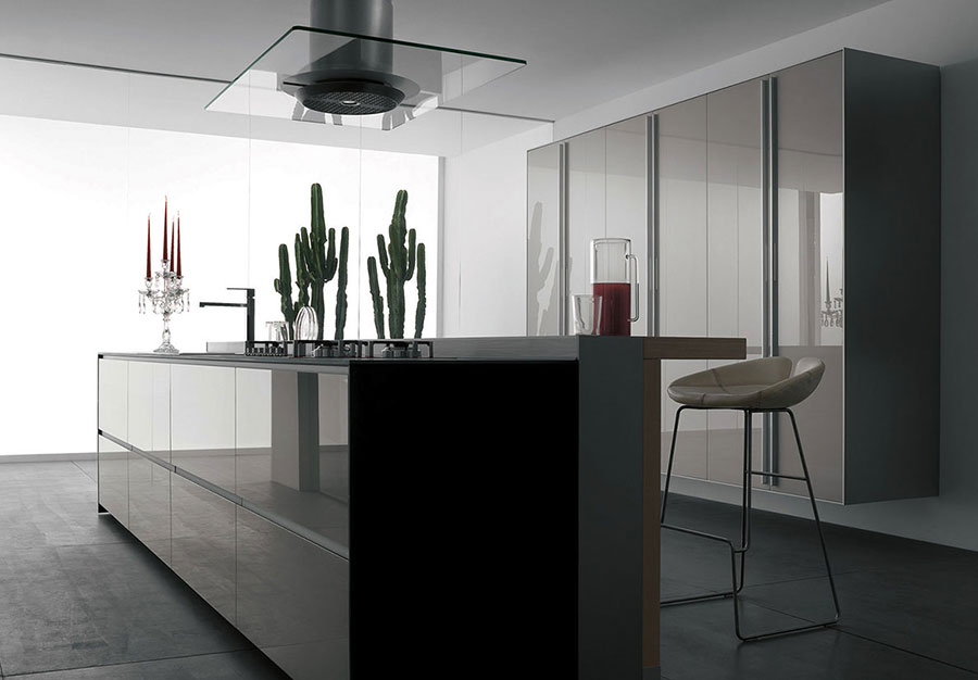 Modello di cucina grigia moderna di Valcucine n.01