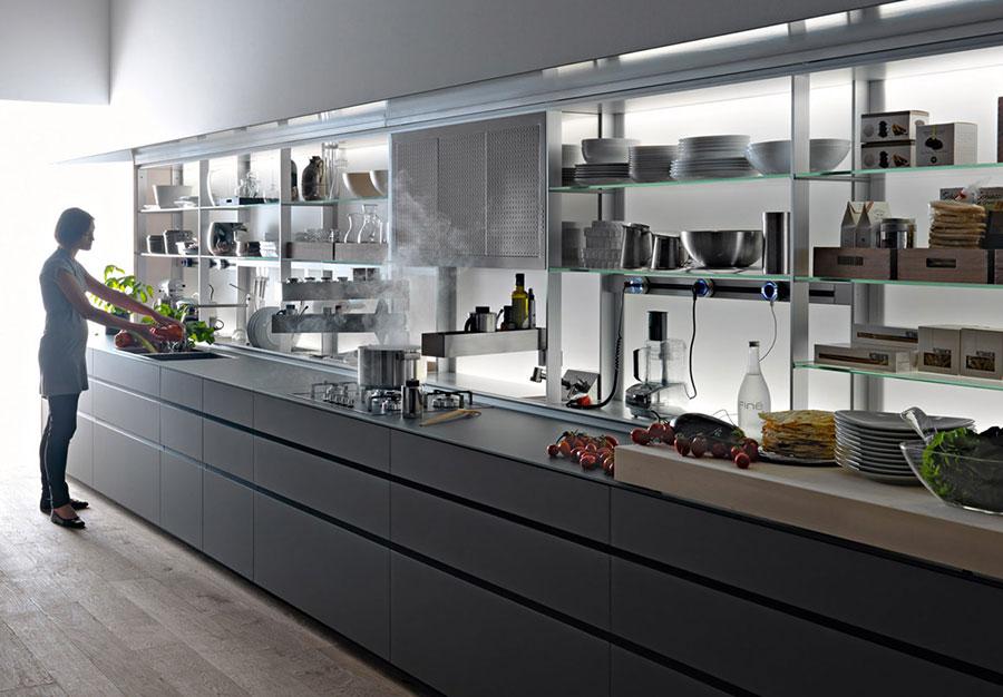 Modello di cucina grigia moderna di Valcucine n.02