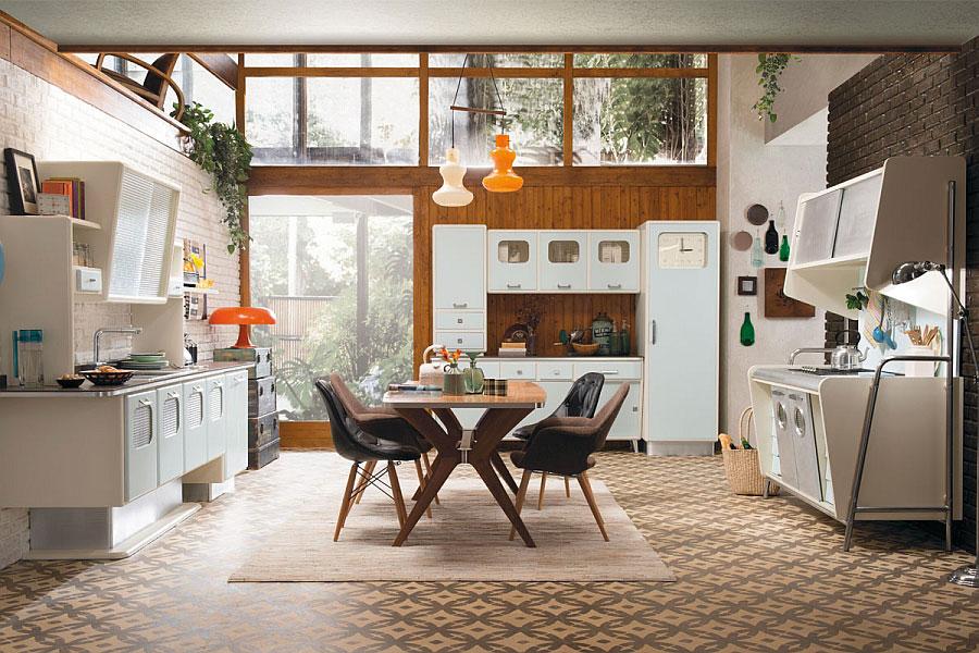Modello di cucina vintage stile anni '50 n.01