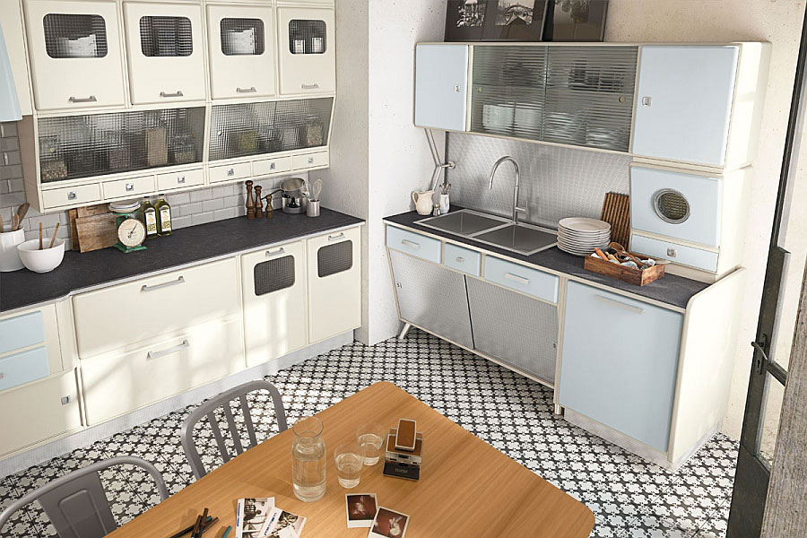 Modello di cucina vintage stile anni '50 n.02