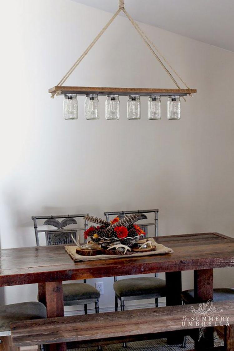 Idee lampadario rustico fai da te n.02