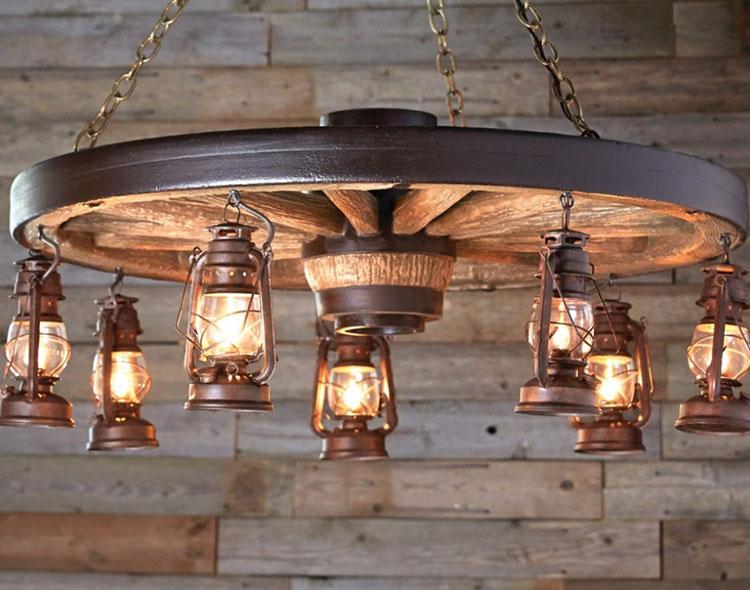 Idee lampadario rustico fai da te n.03