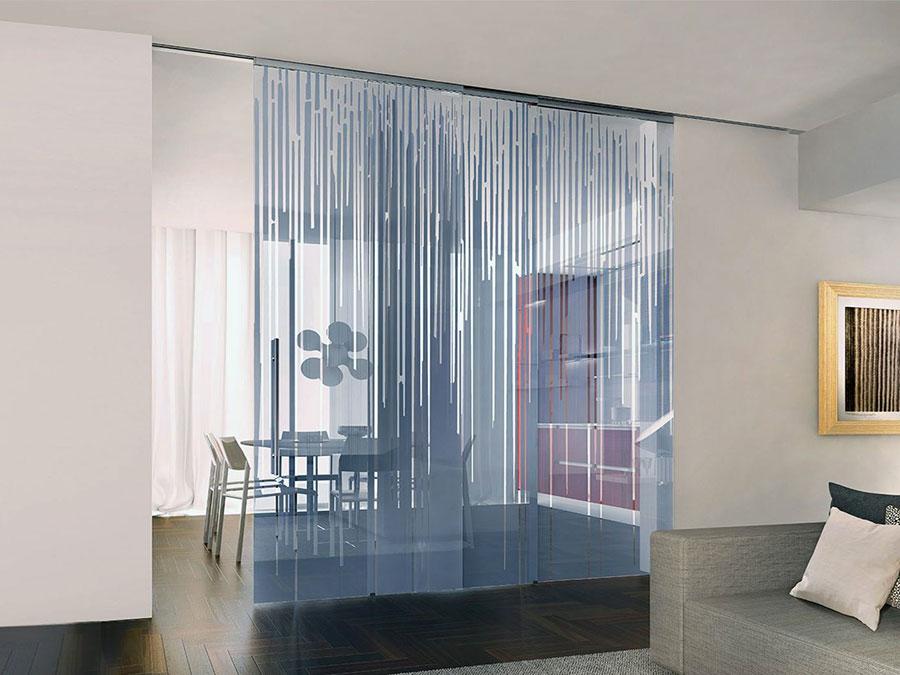 Modello di parete divisoria scorrevole in vetro per abitazioni n.03