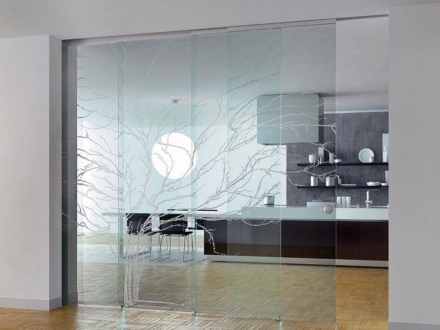 Modello di parete divisoria scorrevole in vetro per abitazioni n.08