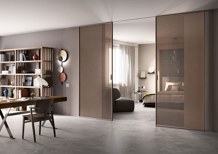 Eleganti pareti divisorie scorrevoli in vetro per - Pareti mobili divisorie per casa ...