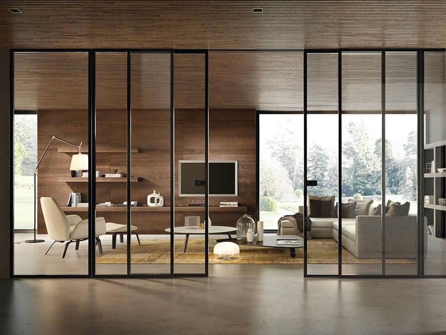 Modello di parete divisoria scorrevole in vetro per abitazioni n.13
