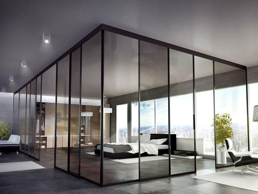 Modello di parete divisoria scorrevole in vetro per abitazioni n.15