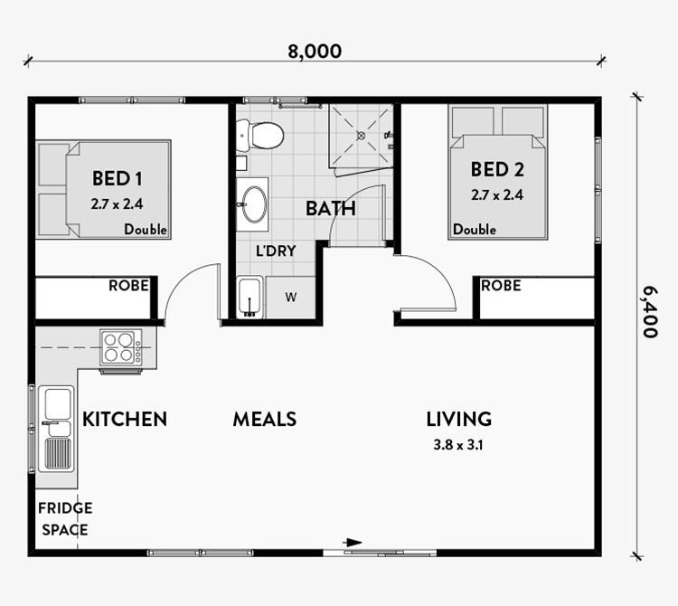 Planimetria casa di 50 mq con due camere da letto n.01