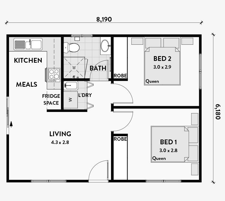 Planimetria casa di 50 mq con due camere da letto n.02