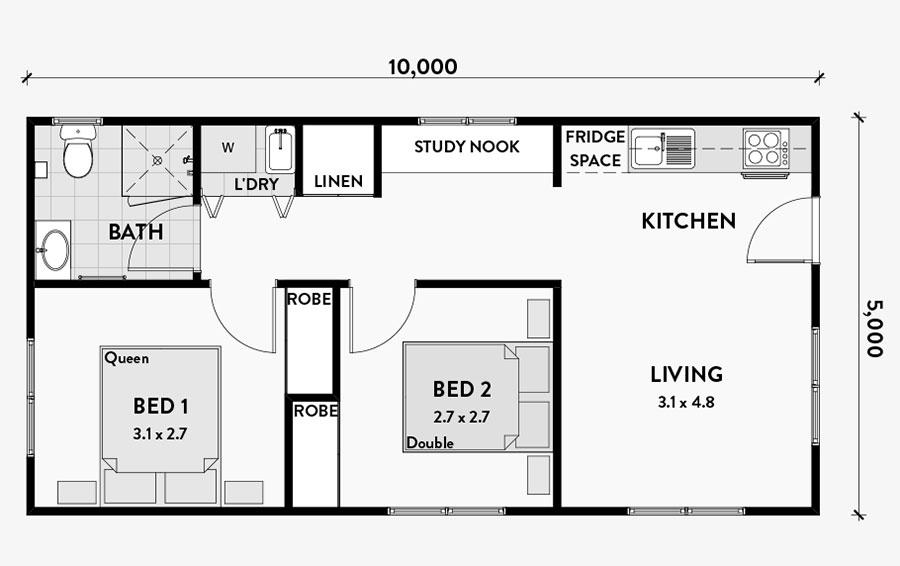 Planimetria casa di 50 mq con due camere da letto n.03