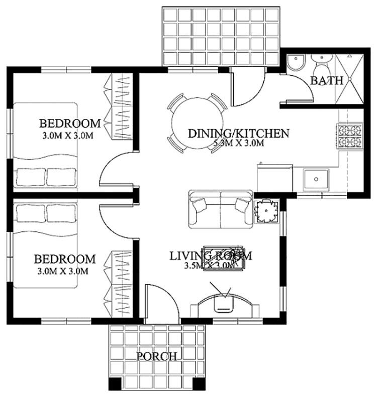 Planimetria casa di 50 mq con due camere da letto n.04