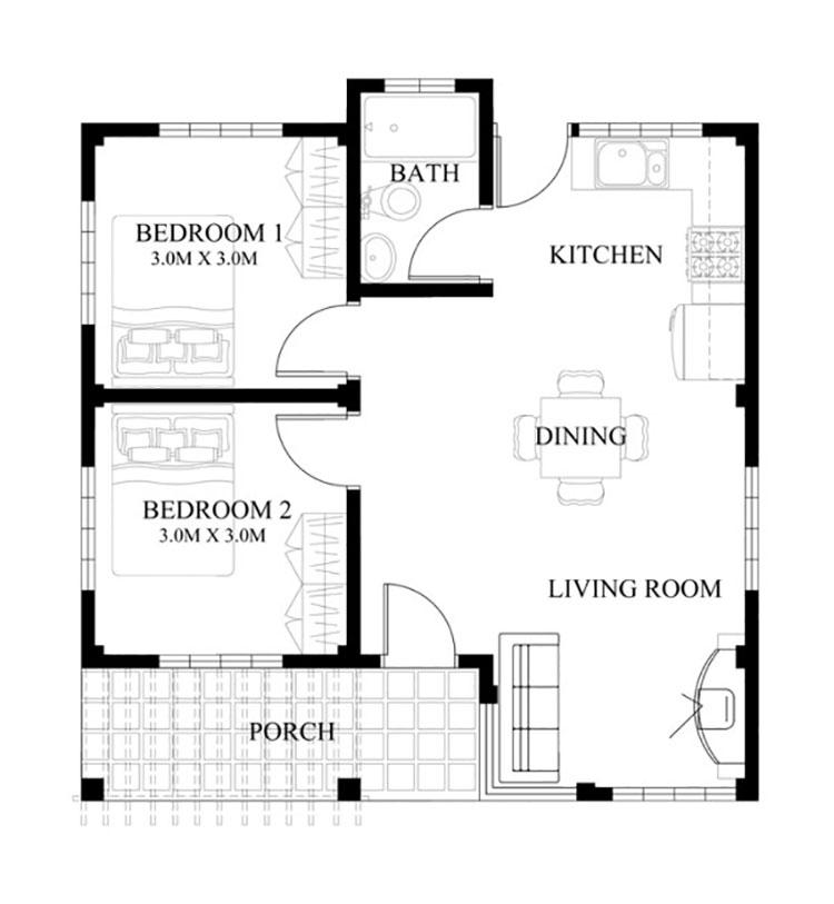 Planimetria casa di 50 mq con due camere da letto n.05