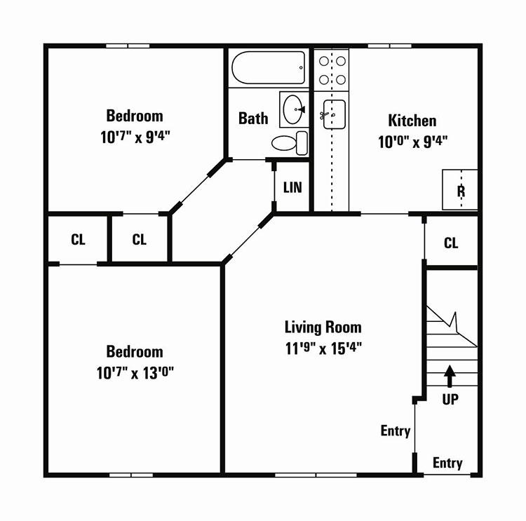 Planimetria casa di 50 mq con due camere da letto n.06