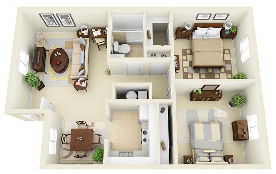 Planimetria casa di 50 mq con due camere da letto n.07