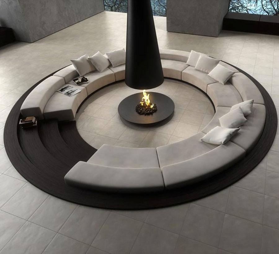 Idee per arredare un salotto con camino dal design moderno n.03
