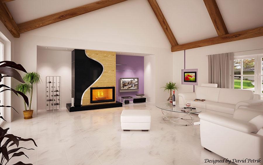 Idee per arredare un salotto con camino dal design moderno n.14