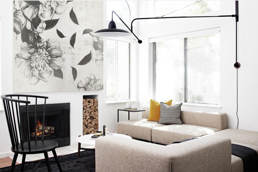 Idee per arredare un salotto con camino dal design moderno n.19