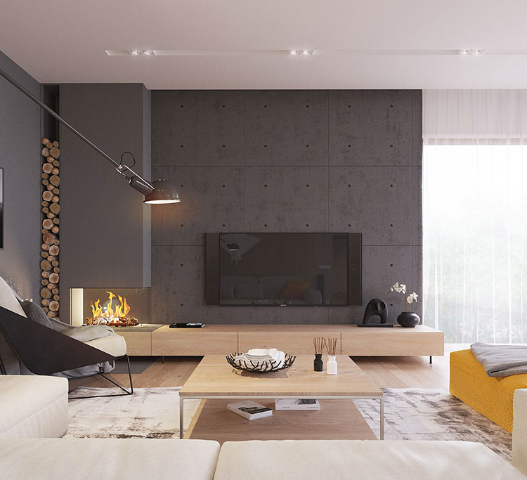 Idee per arredare un salotto con camino dal design moderno n.20