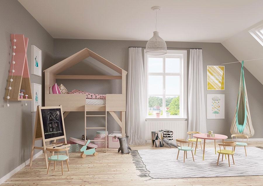 Idee per camerette con pareti grigie n.1