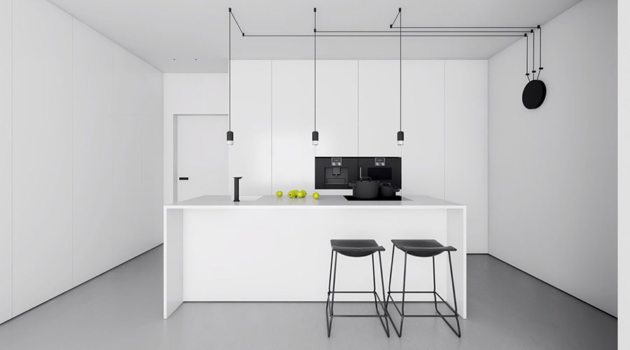 Modello di cucina bianca moderna con isola n.01