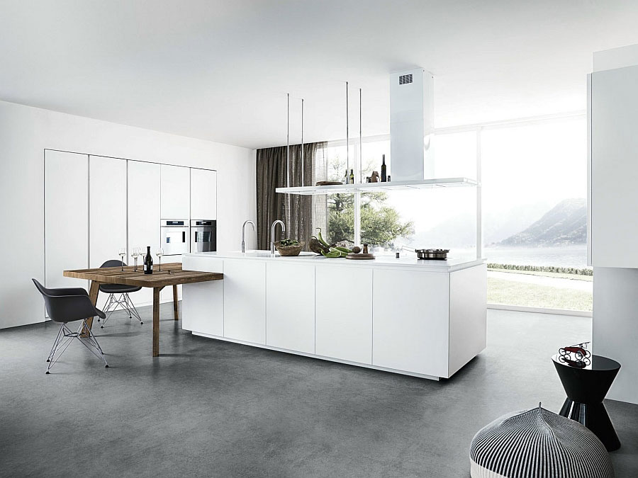 Modello di cucina bianca moderna con isola n.03