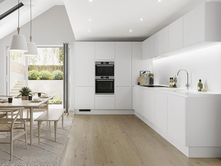 Modello di cucina bianca moderna lineare n.03