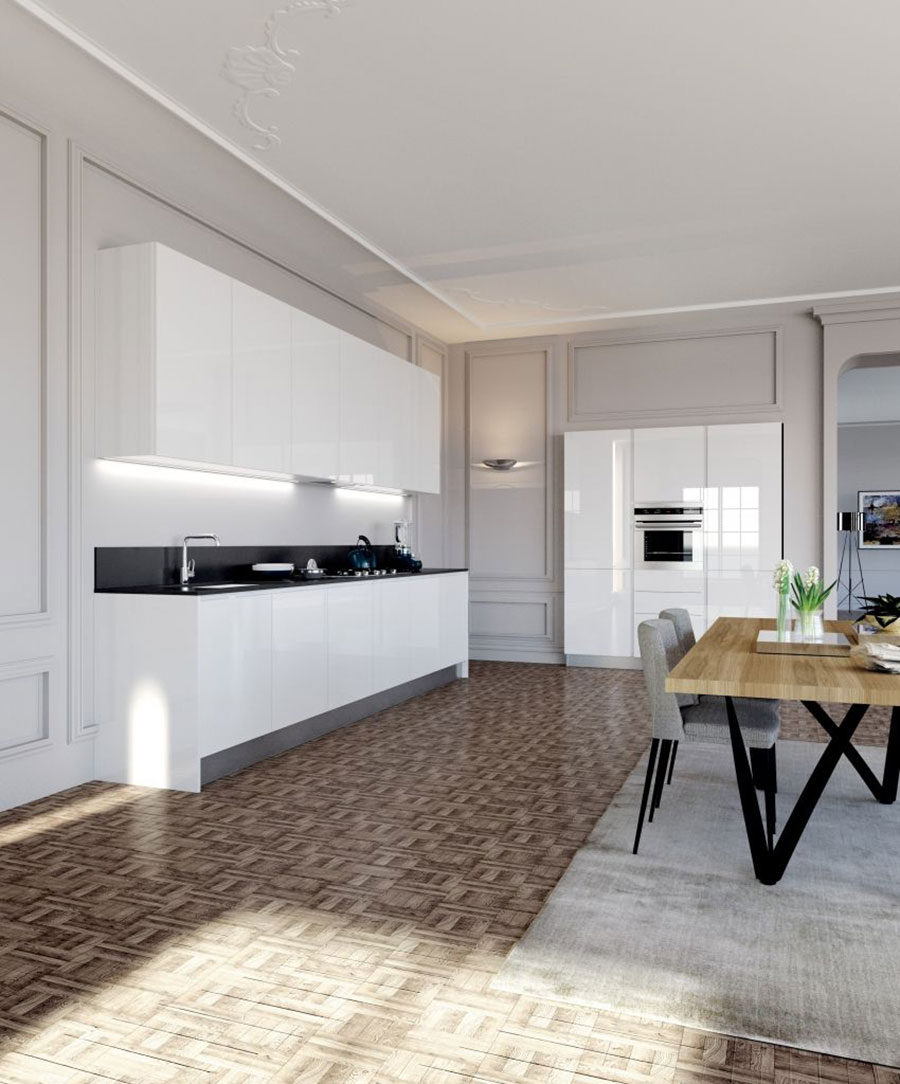 Modello di cucina bianca moderna lineare n.05
