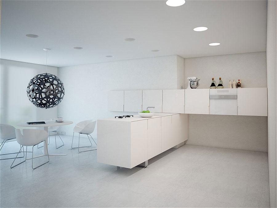 Modello di cucina bianca moderna con penisola n.01