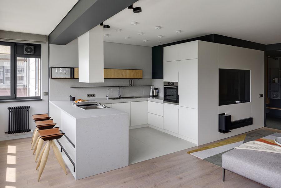 Modello di cucina bianca moderna ad U n.02