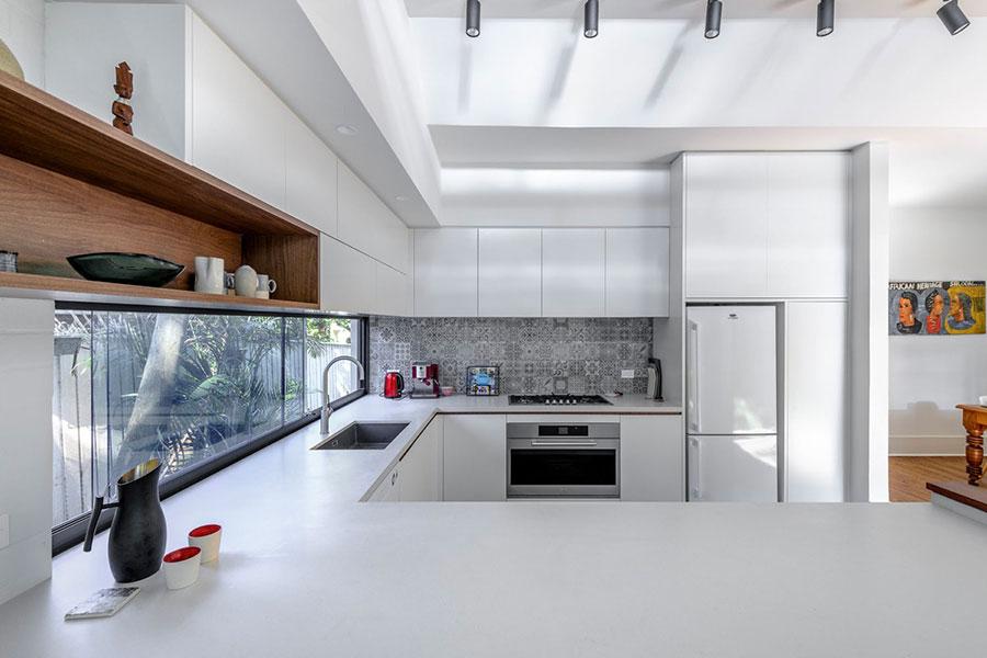 Modello di cucina bianca moderna ad U n.03